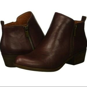 Lucky Brand LK-Basel Dark Brown Zip Ankle Booties